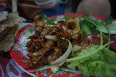 Mực nuong nước mắm- Squid grilled with fish sauce.